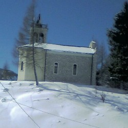 Patocco Church surrounded by snow