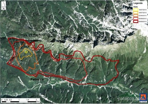 Satellite Image showing the extent of the 2013 fire in Val Raccolana